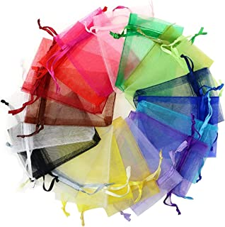 Dealglad® 100pcs 5x7 Inches Mixed Color Sheer Drawstring Organza Jewelry Pouches Wedding Party Christmas Favor Gift Bags