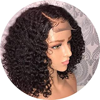 Brazilian Jerry Curl Wig Curly Lace Front Human Hair Wigs Lace Frontal Wig Short Bob Pre Plucked With Baby Hair Lace Closure Wig,16Inches,4X4 Closure Wigs