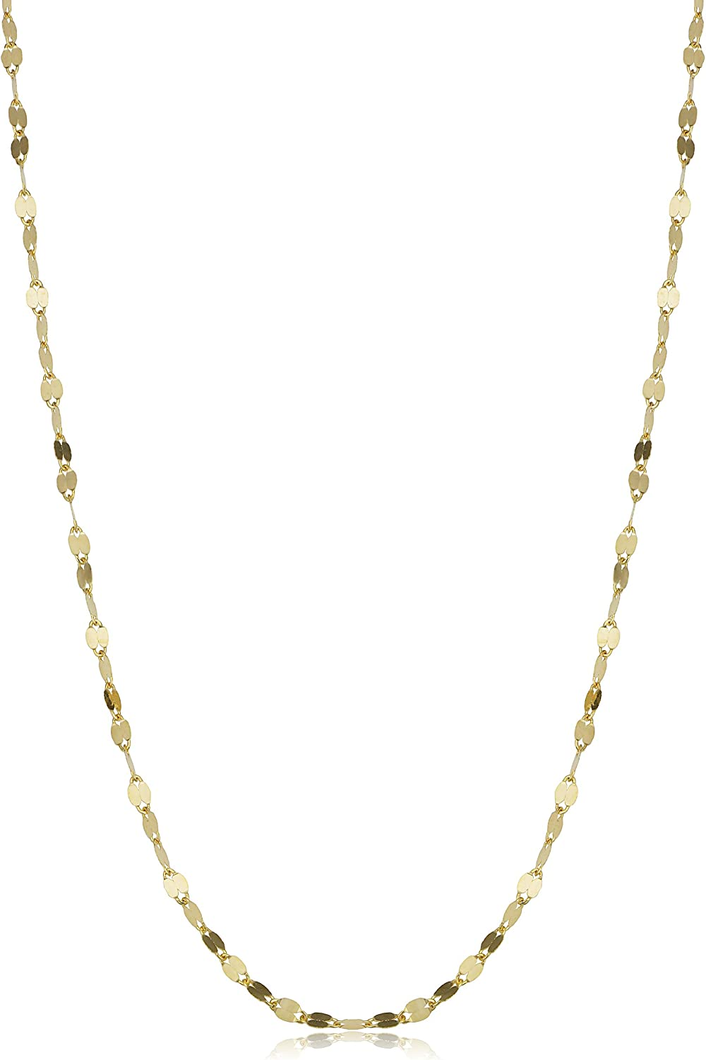 Kooljewelry 14k Solid Yellow Gold 1.9 mm Mirror Link Chain Necklace (16, 18, 20, 22, 24 or 30 inch)