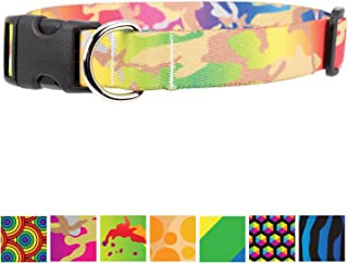 Buttonsmith Rainbow Dog Collar - Fadeproof Permanently Bonded Printing, Military Grade Rustproof Buckle, Resistant to Odors & Mildew, Choice of 5 Sizes, Made in The USA