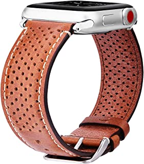 V-Moro Compatible Apple Watch Bands 38mm Women Men, [Italian Vintage Series] Premium Perforated Leather Bands iWatch Wrist Strap Replacement for Apple Watch Series 3 Series 2 (Single Tour Brown, 38mm)