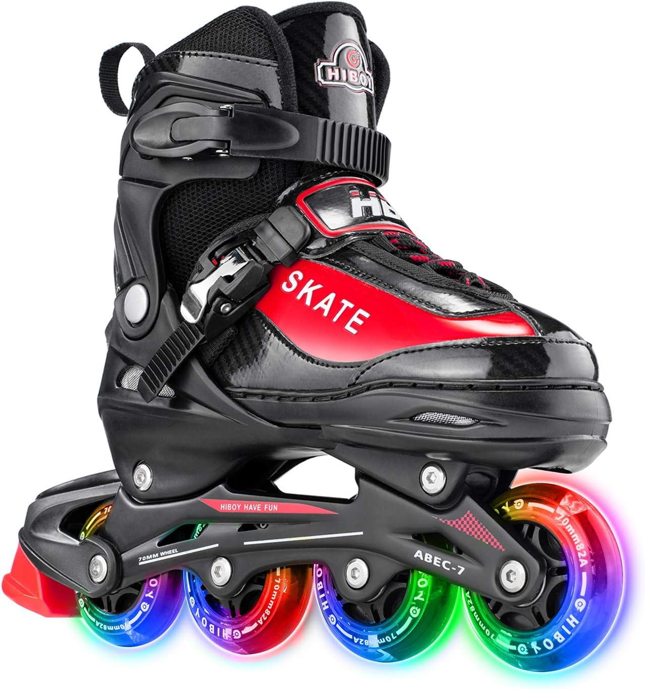 Girls Outdoor /& Indoor Illuminating Roller Skates for Boys Hiboy Adjustable Inline Skates with All Light up Wheels Beginners