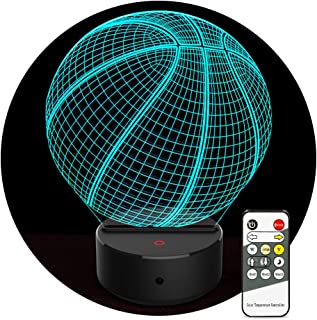 Night Light for Kids Birthday Gifts 3D Illusion Lamp Basketball Night Light 7 Color Changing with Remote Controls Christmas Home Bedroom Nursery Decor for Boys Girls Sport Fans