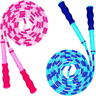 Jump Rope Kids - Tangle-Free Soft Beaded Jumping Rope for Fitness Workout, Adjustable Lightweight Durable Skipping Rope fo...