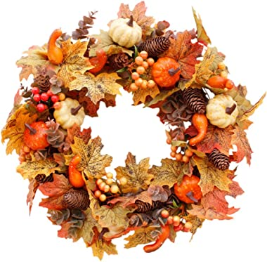Forart 20 Inches Fall Wreath Front Door Decor Wreath Fall Decorations for Front Door Indoor Wall Wedding Home Decoration