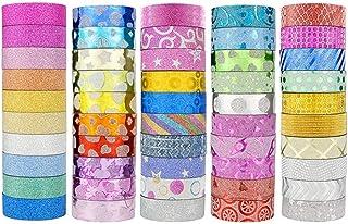 U-HOOME 50 Rolls Glitter Washi Masking Tape Set,Great for DIY Decor Scrapbooking Sticker Masking Paper Decoration Tape Adh...