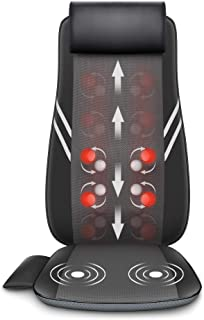 Snailax Full Back Massager with Heat-Shiatsu Massage Chair Pad with 8 Flexible Massage Nodes, Kneading Chair Massasger for...