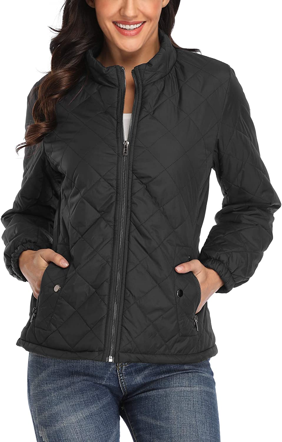 MISS MOLY Women Quilted Jackets Zip Up Stand Collar Lightweight Padded Jacket Winter Outwear