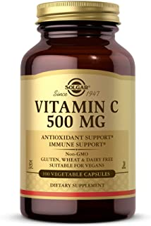 Solgar Vitamin C 500 mg, 100 Vegetable Capsules - Antioxidant & Immune Support - Overall Health - Supports Healthy Skin & ...