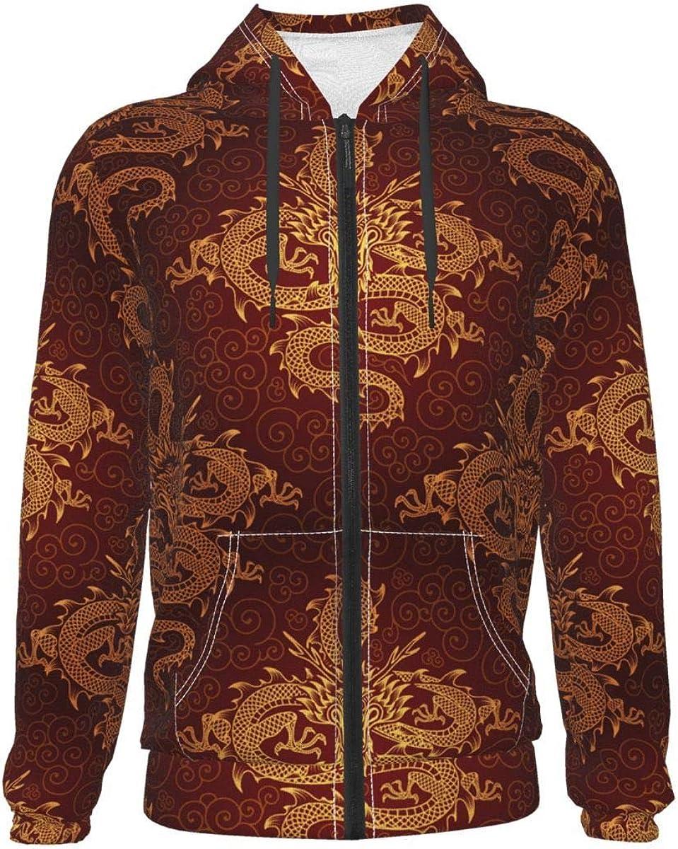 Chinese Lucky Dragon Kids & Youth Full-Zip Fleece Hoodie Boys Print Hooded Sweatshirt Jacket Pockets