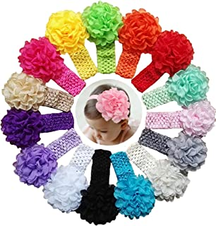 Qandsweet Baby Girl's Headbands Chiffon Flower Hair Accessories for Newborn Toddler and Kids