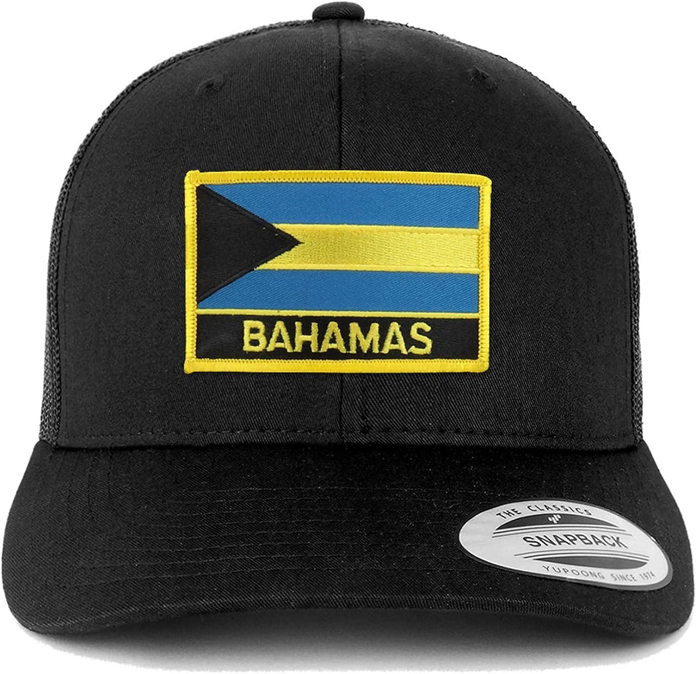Trendy Apparel Shop Bahamas Flag Patch Retro Trucker Mesh Cap