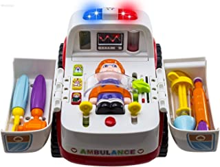 HANMUN Ambulance Toy Medical Kits Kids - 2019 Medical Play Kit Ambulance Toy with Lights and Sound Toddlers Euipment Rescue Vehicle Bump & Go