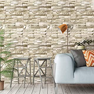 ConCus-T Brick Wallpaper Peel and Stick Faux Stone Wallpaper Self-Adhesive Kitchen Backsplash Waterproof Bedroom Living Ro...