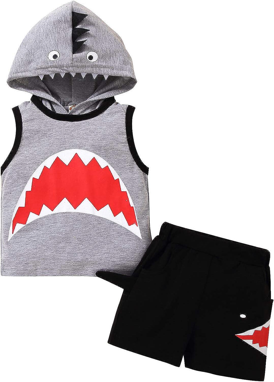 Toddler Baby Boy Shark Shorts Set Sleeveless Hooded Top+Cartoon Shark Pant Sweatshirt Clothes Set
