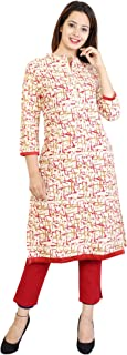 METRO-FASHION Women Abstract Printed Straight Cotton Kurta. (XX-Large, Red)