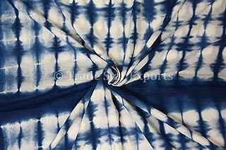 5 Yard Shibori Fabric, Indian Cotton Fabric, Handmade Fabric for Dressmaking, Indigo Tie Dye Fabric, Natural Dye Fabric for Sewing (Pattern 1)