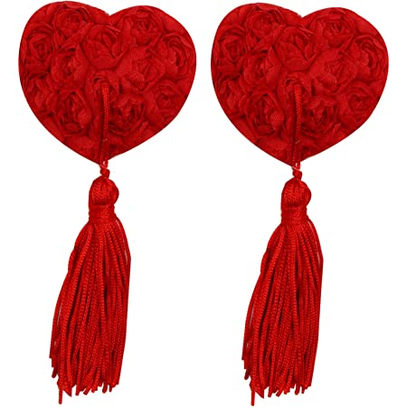 Gold heart nipple pasties with removable tassels
