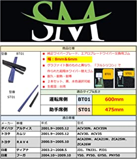 SM超撥水シリコンワイパー替えゴム 幅8mm(運転席) & 6mm(助手席) ダイハツ アルティス ACV30N ACV35N トヨタ カムリ ACV30 ACV35 RAV4 ACA20W ACA21W ZCA25W ZCA26W 日産 J3...