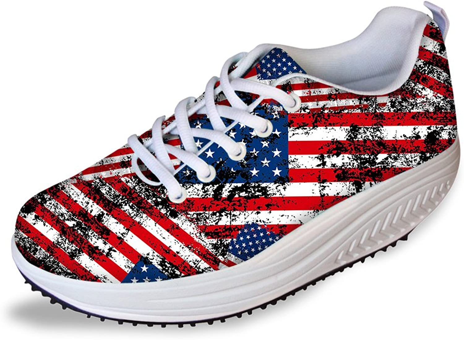Classic American Flag Print Women's Fitness Sneaker Lace-up Athletic Walking shoes Size 5