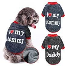 Stock Show Dog Clothes Pet Autumn Winter Warm Lining Fleece Cute Sweet I Love My Mommy&Daddy Design Outfit Apparel for Small Dogs Cats Pug Yorkshire Chihuahua Pet Clothing, Black&Red
