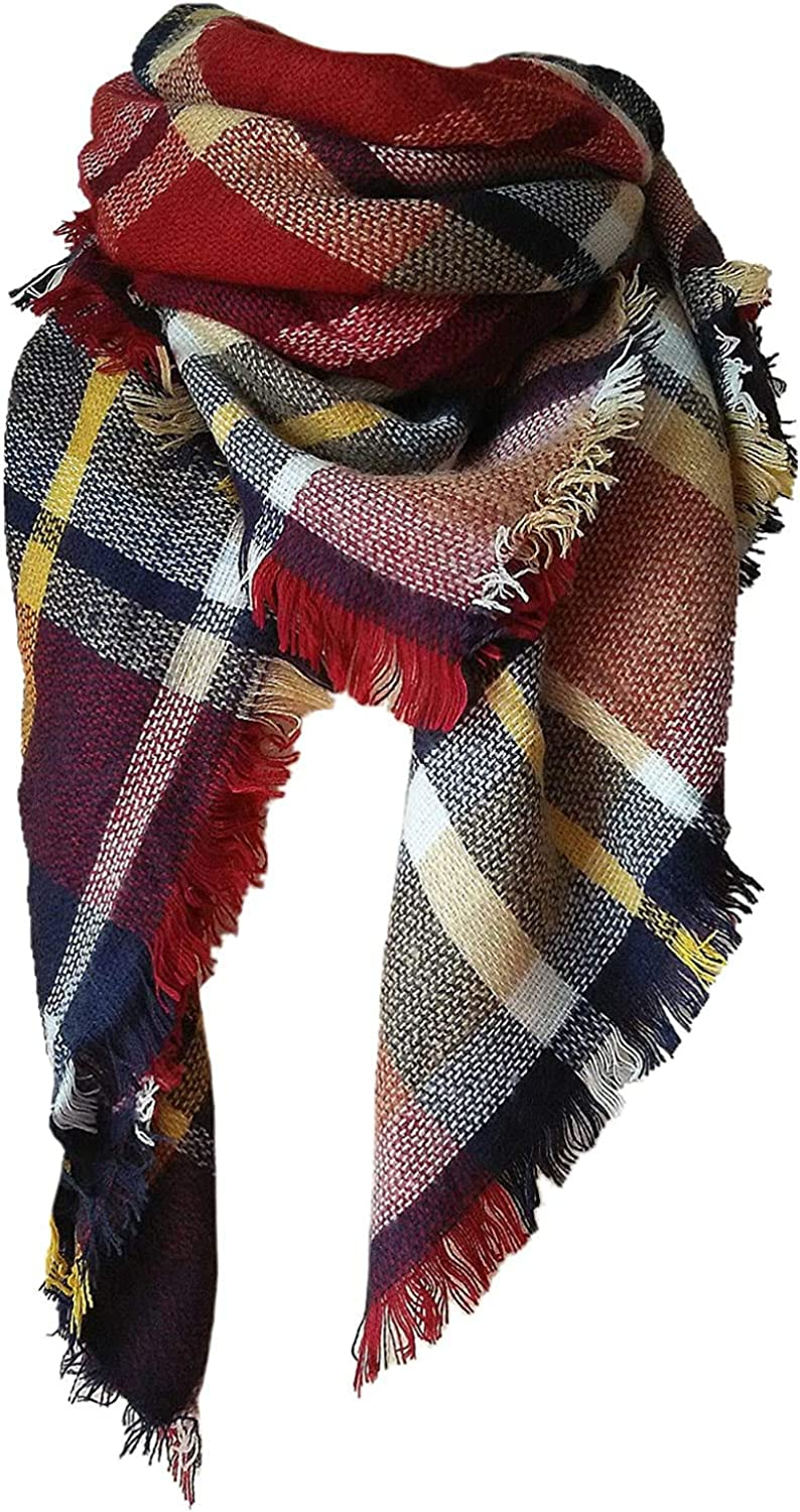 Neck Warmer Ladies Fashion Scarf Luxurious Scarf MKLP Scarf Tassel Scarf Winter Ladies Scarf Large Warm Shawl Plaid Scarf Large Shawl Keep Warm and Prevent Cold For Women
