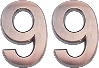 2 Pieces 2.75 Inch Self Adhesive House Numbers- Door Address Number for Mailbox/Home/Hotel/Office/Condo/Apartment, Bronze, Double 9