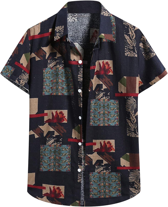LEIYAN Mens Fashion Button Down Shirts Summer Short Sleeve Cool Loose Slim Fit Hawaiian Aloha Beach Relaxed Tops