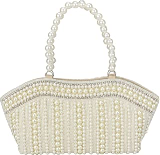Suman Enterprises Cutest Vintage Style Pearl Tote Bag Wrist Bag Evening Clutch Wedding Purse for Women & Girls