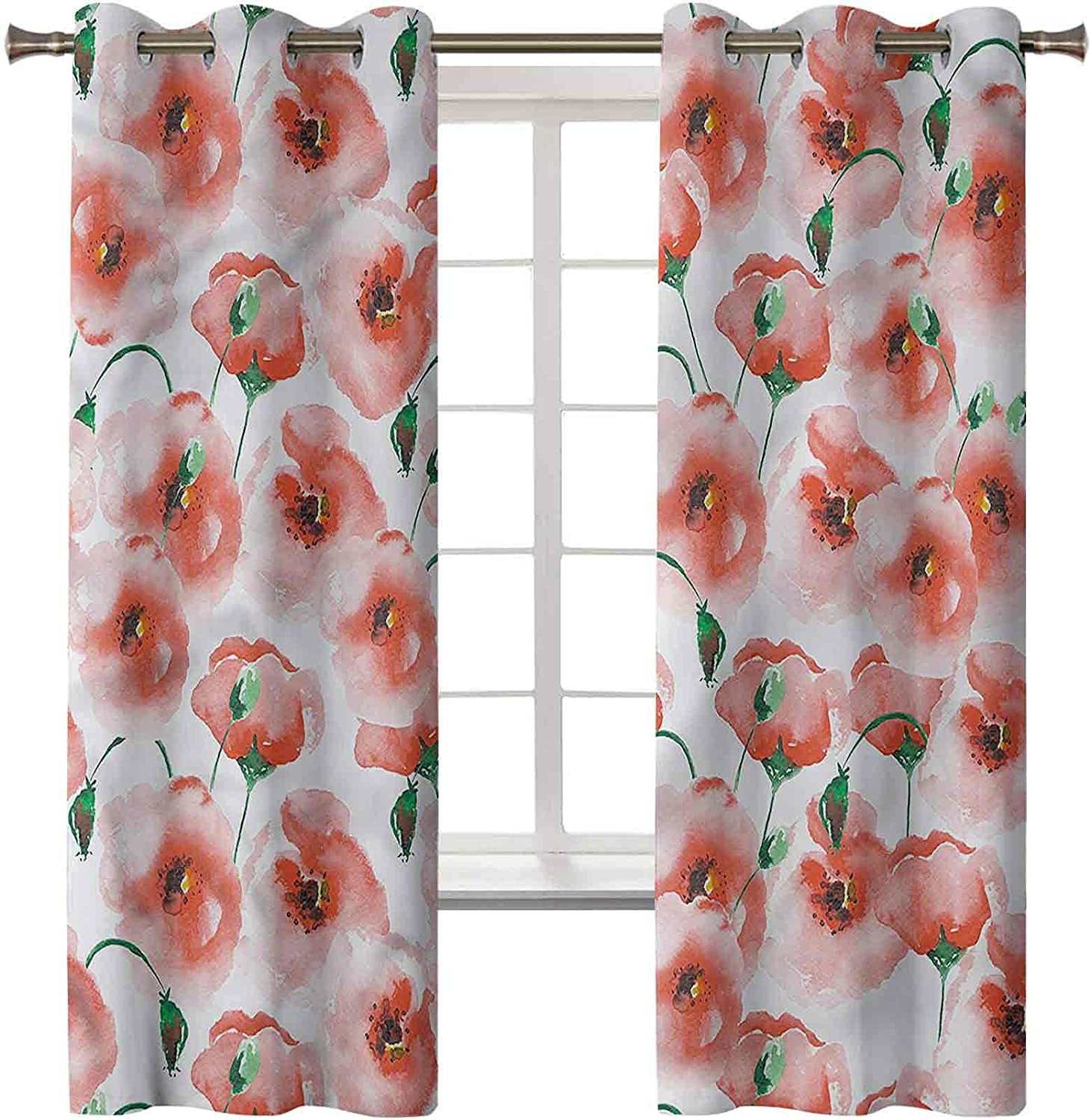 Blackout Latest item Curtains Thermal Max 48% OFF Insulated Drapes Reducing Noise Flowe