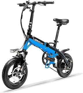 LANKELEISI A6隠しバッテリーミニポータブル折りたたみ自転車、14インチ、ディスクブレーキ、マグネシウム合金リム、高品質 (黒��, 標準)...
