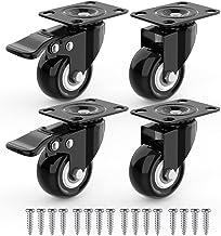 4 x Zwenkwielen 50mm met Schroeven, Meubelzwenkwielen Zwaar Rubberen Zwenkwielen voor Meubels, Wielen Karretje, Transport ...