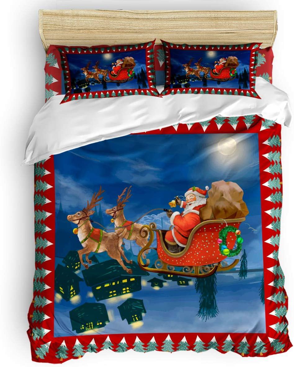 BABE MAPS Christmas Duvet Cover Set 4 Cheap and Lightw Pcs Trust Breathable