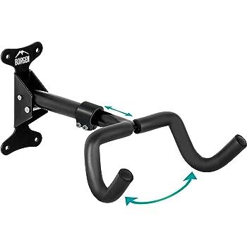 Borgen Soporte de pared para bicicletas I Soporte para colgar bicicletas - Ángulo y distancia de pared ajustable, plegable, MTB, bicicleta de carreras - Acolchado extra suave