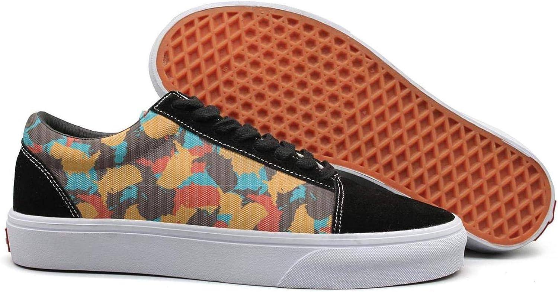 USA map Desert Digital camo Womens Lace up Canvas shoes Lightweight