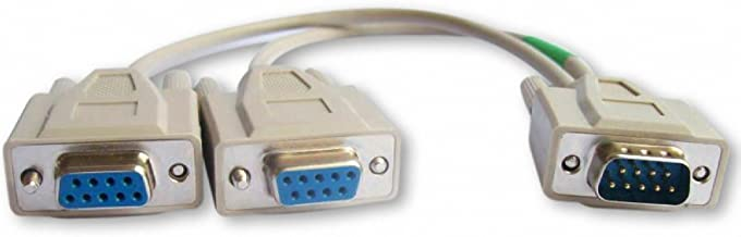 Your Cable Store 1 Foot DB9 9 Pin Serial Port Y Cable 1 Male / 2 Female RS232