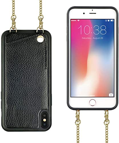 iPhone Xs Wallet Case, iPhone Xs Crossbody Case, JLFCH iPhone X Case with Card Slot Holder Crossbody/Shouder Strap Pu...