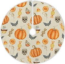 "Naanle Halloween Skull Pumpkin Bat Christmas Tree Skirt 35"" Tree Skirt Christmas Tree Decoration Blanket Xmas Tree Mat for..."