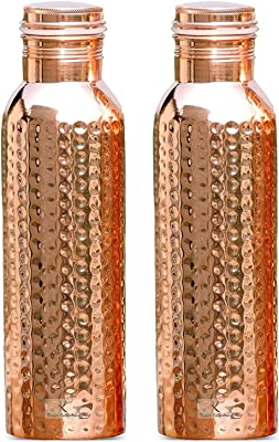 Kuber Industries Hammered Pure Copper Water Bottle,1Ltr (Set of 2, Brown)-KUBKMART11569