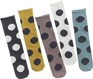Animque 5 pares de calcetines para niña, hasta la rodilla, 33 cm de largo, rectos, sin tacón, de algodón, con lunares grandes
