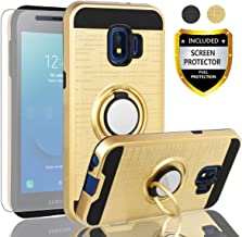 Galaxy J2 Core Case,Galaxy J2 Core Case with HD Screen Protector,AYMECL Galaxy J2 Core Cellphone 360 Degree Rotating Ring Holder Full-Body Protective Cases Cover for Galaxy J2 Core-ZR Golden