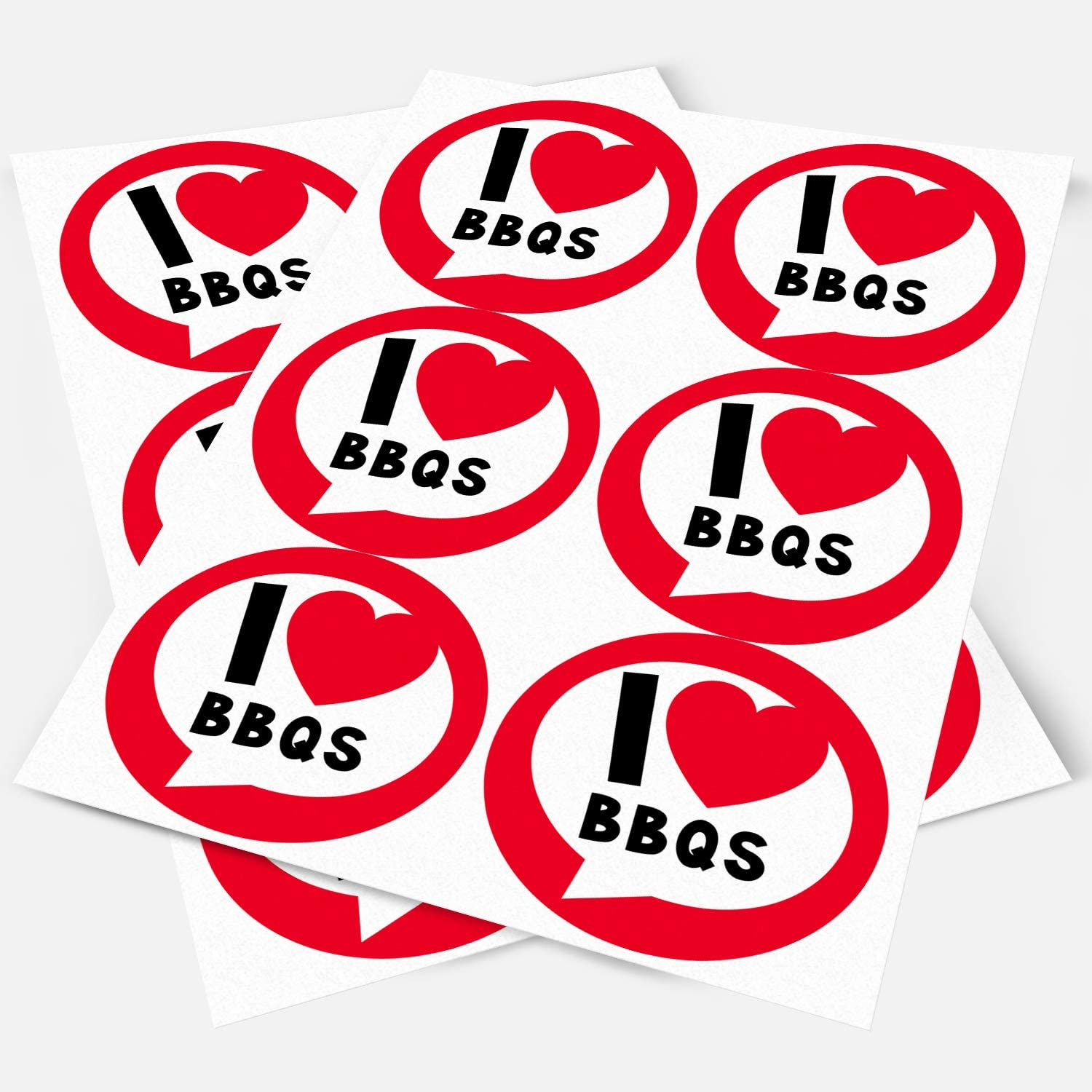 I Love BBQs Sticker Labels Sweet Cones Party Bags Gift Boxes Favors Thank You Non-Personalised 3.5 cm x 35 // 1, A4 Sheet