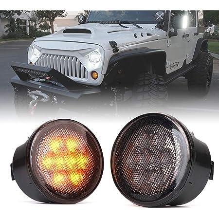 Smoked Lens Amber LED Turn Signal Light for 2007-2018 Jeep Wrangler JK /& Unlimited 8-LED Left DRL Function