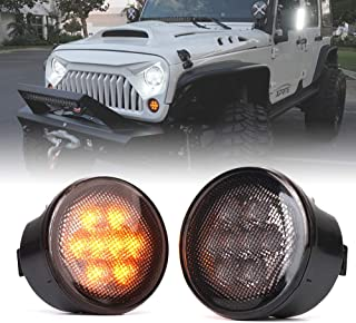 SKTYANTS a Pair LED Front Turn Signal Light Side Fog for Jeep Wrangler JK 2007-2017 Yellow Amber Light Fender Combo Lens for Jeep Wrangler