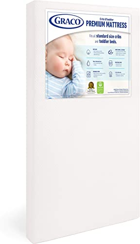 Graco Premium Foam Crib and Toddler Mattress, White – Ships Compressed in Lightweight Box, Ideal Mattress Firmness, F...
