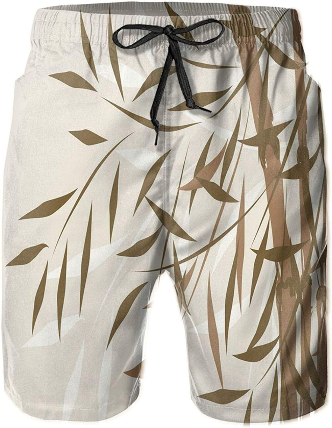 Bamboo Design with Soft Colors Chinese Culture Inspired Artwork Eastern Pattern Mens Swim Shorts Casual Workout Short Pants Drawstring Beach Shorts,M