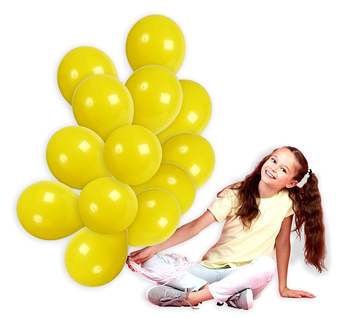 Treasures Gifted 12 Inch Yellow Solid Latex Premium Quality Balloons Bouquet for Variety Baby Showers Cocktail Birthdays Lucky Fairytale Weddings Topical Lemon Fiestas Party Supplies (36 Pack)