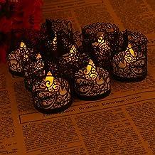 (Black) - Asenart Flameless Tea Light Votive Wrap Candle Holder Set (50 Pack) for LED Battery Tealight Candles (Not Includ...