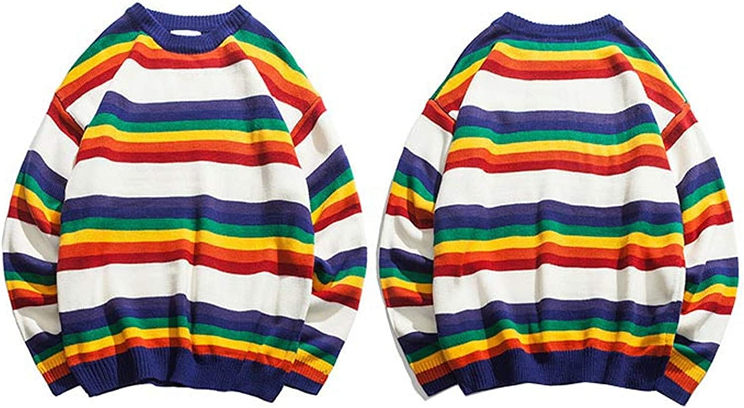 Retro Rainbow Knitted Striped Sweater Mens Max 51% OFF Pullover Hip Hop Popular product Swea
