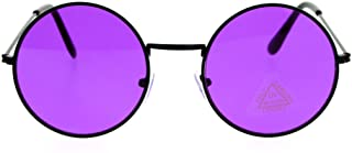 SA106 Retro Vintage Flat Color Circle Round Lens Sunglasses
